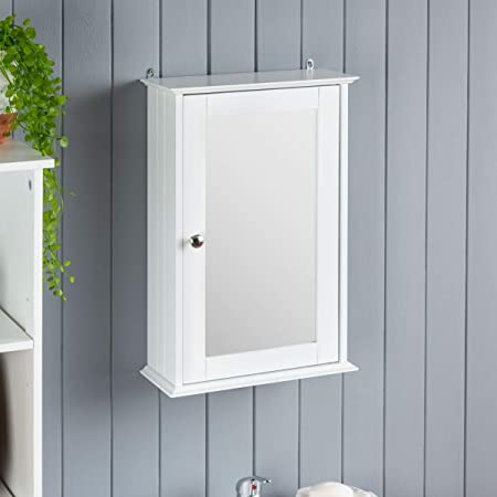 Christow Mirrored Bathroom Cabinet Wall Mounted Small White Wooden Bathroom Mirror Storage Unit With Shelf Amazon Co Uk Kitchen Home