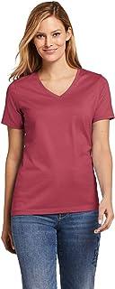 Lands' End Women's Petite Supima Cotton Short Sleeve T-Shirt - Relaxed V-Neck