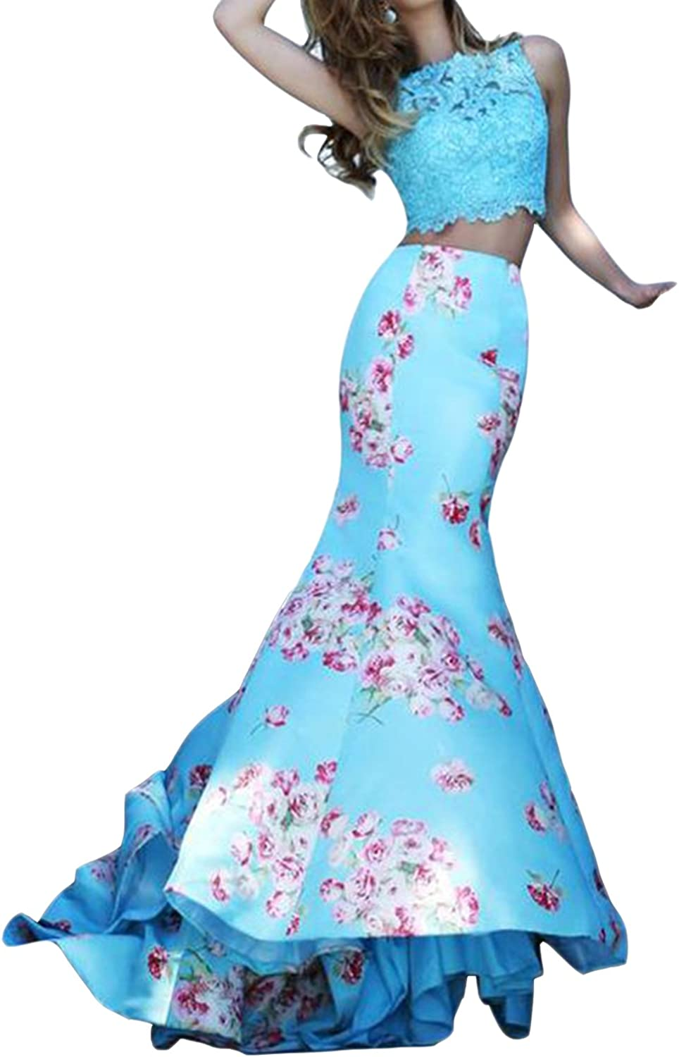 Homdor Women Sexy Mermaid Two Pieces Prom Dress Long Elegant Floral Print Gowns