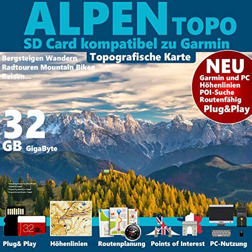 ★ALPEN Garmin Karte OutdoorTopo auf 32 GB microSD. Deutschland Schweiz Italien Österreich Frankreich SlowenienTopografische GPS Freizeitkarte Topo GPS Karte Höhelinien microSD für Garmin Navi, PC und MAC