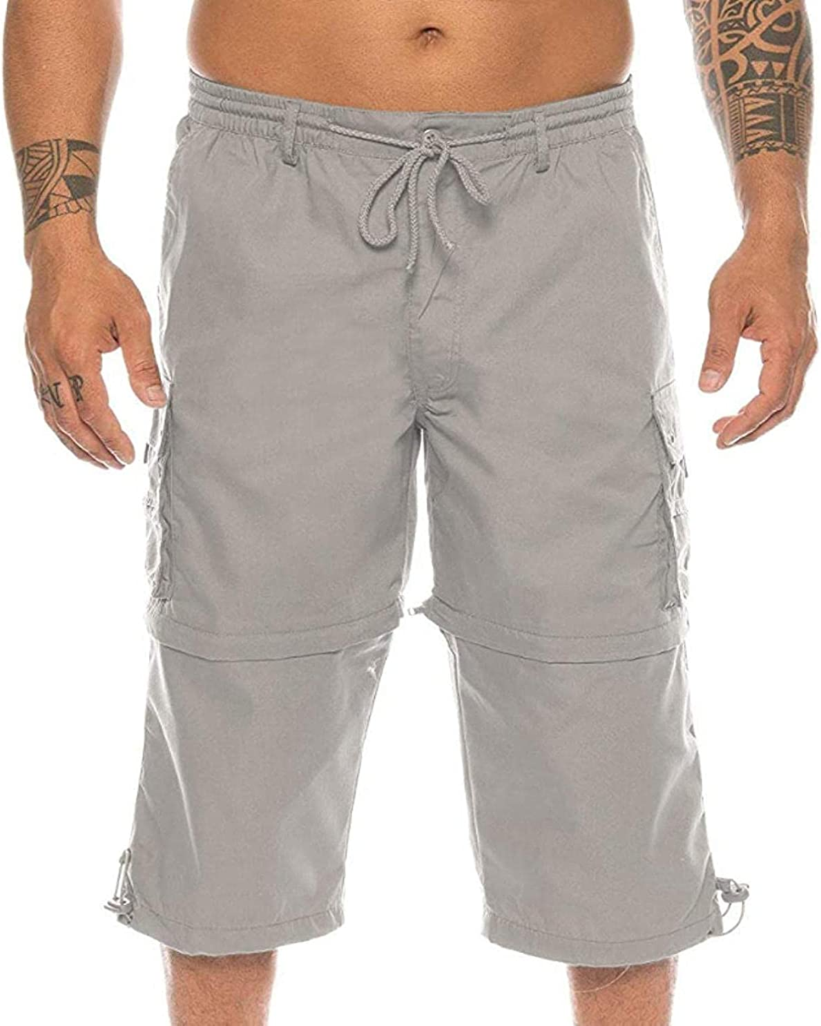 ZYUEER Men's Cargo Shorts Solid Color Multi-Pocket Straight Loose Large Size Elastic