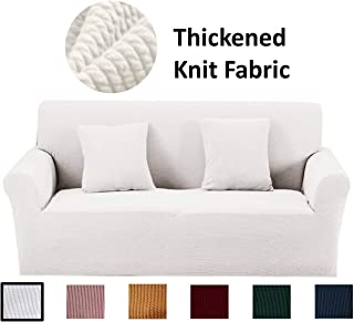 Argstar Thickened Stretch Sofa Slipcovers, Thick Sofa Protector, Sofa Cover, Sofa Covers for 3 Cushion Couch, Washable and Soft Couch Protector Covers for Living Room, White