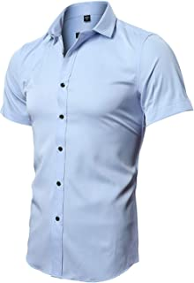 INFLATION Men's Short Sleeve Dress Shirts, Slim Fit Bamboo Casual Button Down Shirts for Men