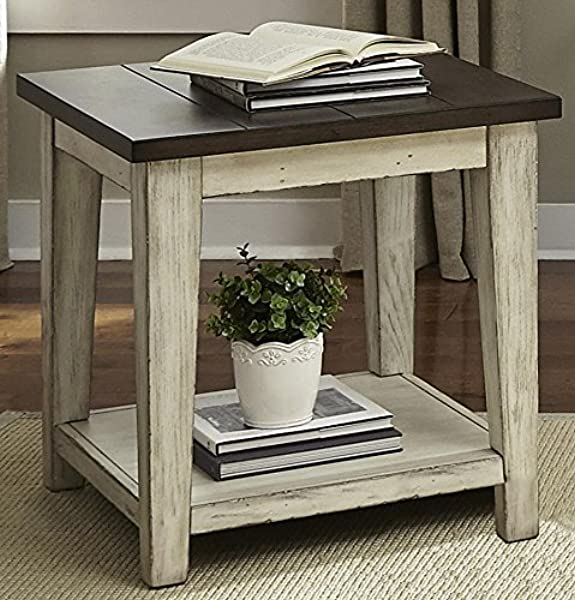 Liberty Furniture INDUSTRIES 612 OT1020 Lancaster End Table 24 X 24 X 24 Weathered Bark Finish White