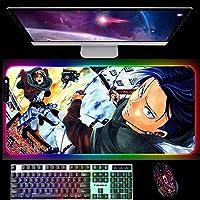 RGBマウスパッドアニメ攻撃タイタンゲーミングマウスパッドLEDライトマウスパッド滑り止めコンピューターソフトグローイングキーボードデスクマット900x400x4mmB