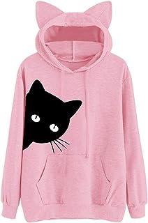 Shusuen Women Girl Hoodies Cute Cat Ear Novelty Printed Pullover Sweatshirt