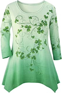Shamrock Printed Ombre Top, Sparkly Sequins & Green Background with 3/4 Sleeves and Scoop Neckline