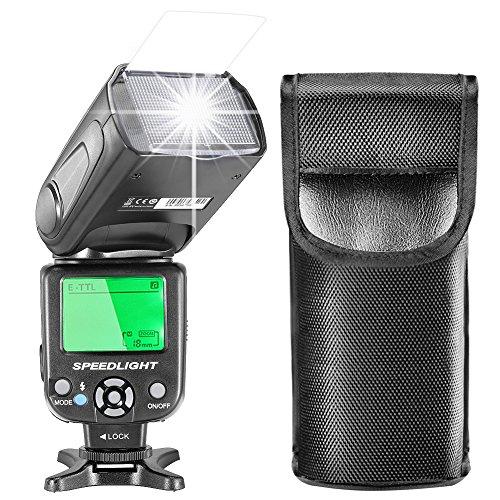 Neewer E-TTL Flash Speedlite con Pantalla LCD, Difusor Duro y Bolsa Protectora para Cámaras Canon DSLR, como 7D Mark II, 5D Mark II III IV, 1300D, 1200D, 750D, 700D, 600D, 80D, 70D, 60D (NW- 562)