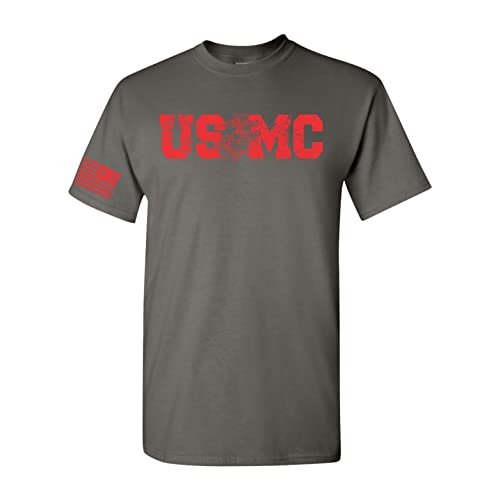 f0379fcc All Things Apparel USMC Red Print with Flag on Sleeve Men's T-Shirt