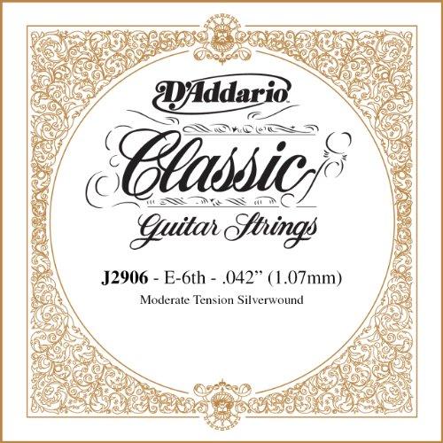 D'Addario J2906 Classics, cuerda individual rectificada para guitarra clásica, tensión moderada, sexta cuerda