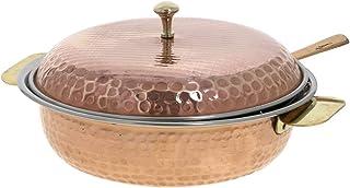 PARIJAT HANDICRAFT Indian Serveware Donga Copper Serving Bowl Tureen With Spoon