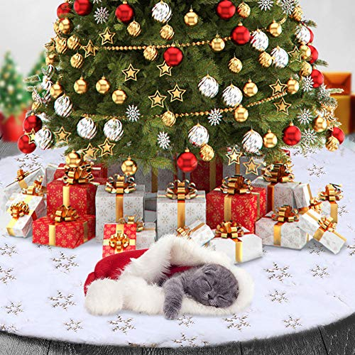 TOBEHIGHER Christmas Tree Skirt - 48 Inches Large Soft Faux Fur Golden Snowflake Tree Skirt for Christmas Decorations Indoor Outdoor - Golden Snowflake