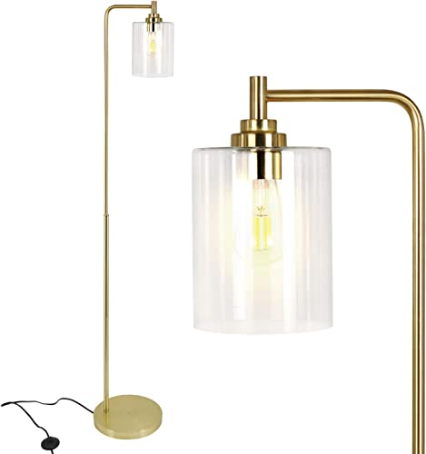 Hykolity Modern Floor Lamp for Living Room with Glass Shade, Art Brass Standing Lamp for Living Room, Bedroom, Guest Room, Office, Indoor Tall Pole Light with Reading Light, Bulb Sold Separately