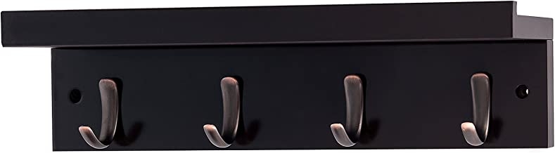 DOKEHOM 4-Oil Rubbed Bronze Hooks (4 Colors) on Wooden Board with Shelf Coat Rack Hanger, Mail Box Packing (Brown)