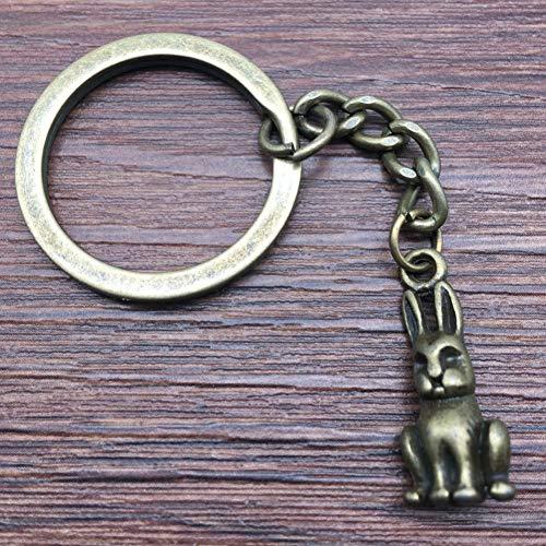 N/ A Llavero 3D Conejo Llavero 24x10x8mm Bronce Antiguo Moda Hecha A Mano Llavero de Metal Regalos de Recuerdo para Mujeres