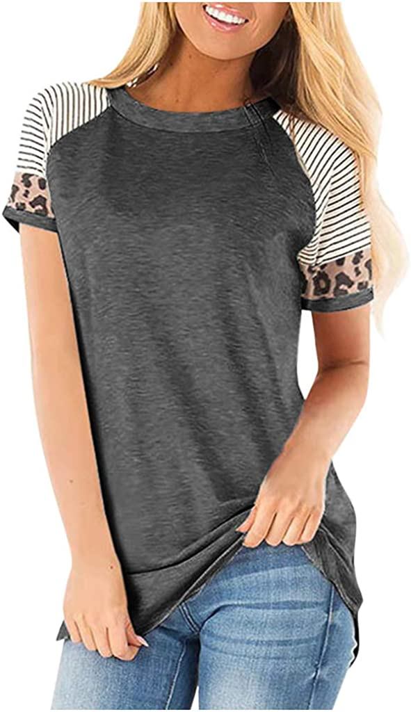 DKKK Women's Round Neck Short Sleeve Color Block Casual Loose Tunic Shirt Blouse Top