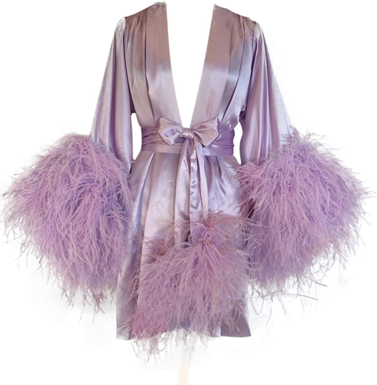 bathgown Women's Feather Fur Bridal Sheer Trust El Paso Mall Lin Illusion Robe Sexy