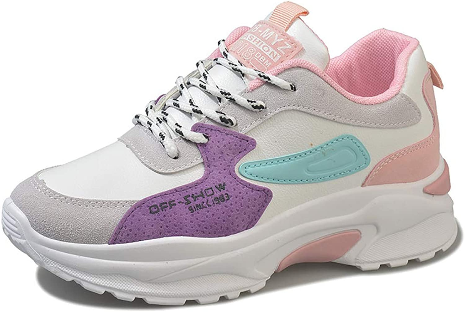 Womens Ladies Trainers Running Fitness Air Sneakers Athletic Lace up Sports shoes Black Pink Purple RedUK2.5-UK6(35-40),Purple,36
