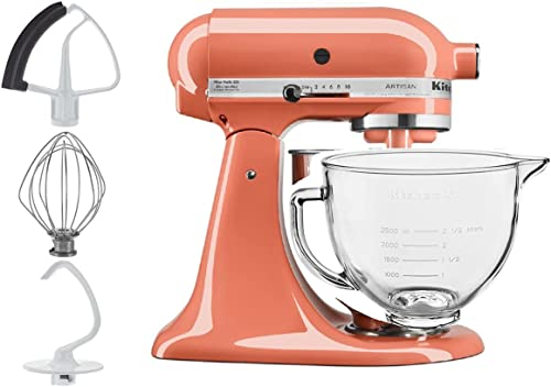 lowest KitchenAid discount 5-Quart Tilt Head Stand Mixer With Flex Edge Beater Glass discount Bowl Bird of Paradise Pink sale