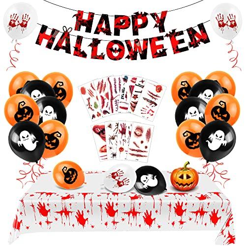 Bluelves Decoración de Fiesta de Halloween Set, Decoracion de Happy Halloween, Sangrienta Mantel Halloween, Halloween Tatuajes Cicatrices, Halloween Guirnaldas, Halloween Globos Kit