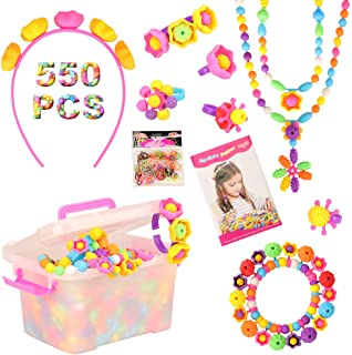 Barwa Set 550 PCS Pop Snap Beads Pop-Arty Bead Toy for Kids and Toddlers DIY Beads Toy Made Jewelry Necklaces Bracelets Ri...