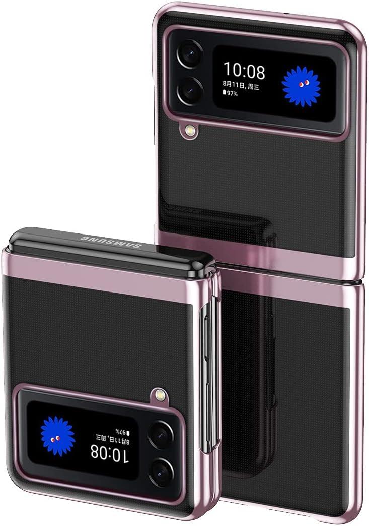 CCSmall for Samsung Galaxy Z Flip 3 5G Case,Luxury Slim Hard Plating Folding Sleeve Plating Clear Case for Samsung Galaxy Z Flip 3 DD Rose Gold