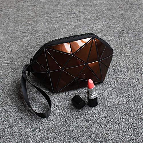 Couleur Lumineuse Décoloration Irrégulière Demi-Cercle Sac Cosmétique Géométrique Motif Rhombique Type De Coquille Paquet De Géométrie