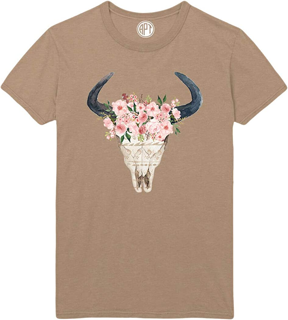 Floral Skull with Horns Printed T-Shirt