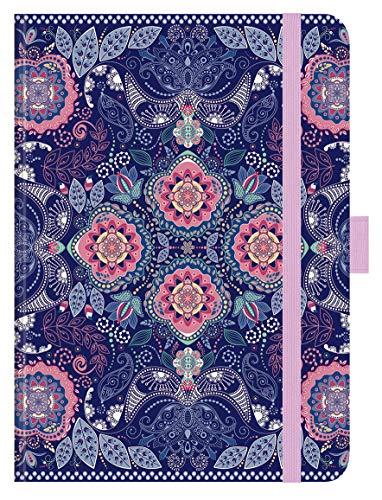 """Premium Timer Big """"Blue India"""" 2021: Hochwertiger Buchkalender. Terminplaner mit Wochenkalendarium, Gummiband und Stifthalter. 12 x 17 cm"""