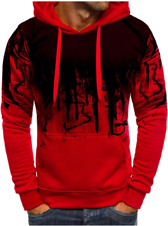 Hoodies for Men Ink-Splash Fashion Mens Athletic Hoodies Sport Sweatshirt Long Sleeve Pullover with Pocket