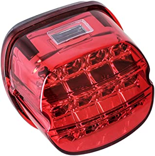 NTHREEAUTO Red LED Rear Tail Lights Motorcycle Taillights Brake Running Compatible with Harley Touring Dyna Road King Electra Glide Street Bob