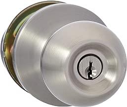 AmazonBasics Entry Door Knob With Lock, Standard Ball, Satin Nickel