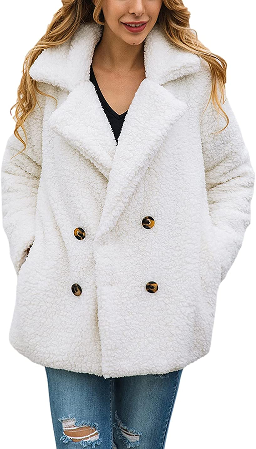 Peaceglad Women's Teddy Jacket Fashion Long Sleeve Lapel Faux Wool Oversized Warm Thick Jacket with Pocket