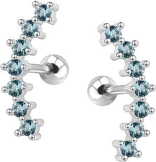 Curve Seven Stud CZ Stud Earrings 316L Stainless Steel Ear Helix Conch Cartilage Piercing