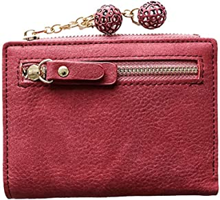 FENICAL PU Leather Coin Purse with Zipper Mini Pouch Change Wallet for Women Men(Claret)