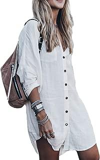 Women Button Down Beach Shirt Tunic Dress Long Sleeve...