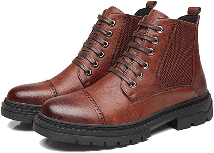 Shuo lan hu wai Bottines pour Hommes - Bottes de Loisirs décontractées à Talon Plat et Confortables,Chaussures de Cricket (Couleur   Marron, Taille   42 EU)