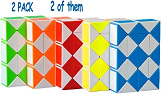 2 Pack 24 Stages Fidget Magic Snake Cube Puzzles Twist Ruler Speed Cubes Brain Teaser Game Toys for Kids Random Color (24 Block)