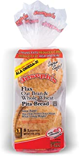 Joseph's Flax, Oat Bran and Whole Wheat Flour MINI Pita Bread 8 Loaves(8oz)
