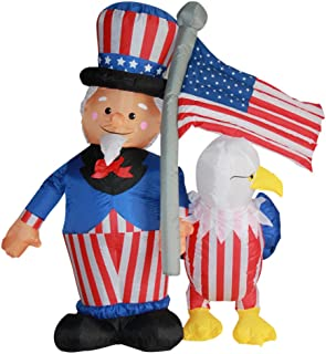 Impact Canopy Inflatable Outdoor Independence Day Decoration, Lighted 4th of July Uncle Sam and Eagle, 6 Feet Tall