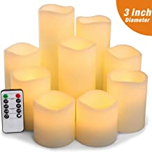 Pandaing Large Set of 9 Flameless Candles Battery Operated LED Pillar Real Wax Flickering Electric Candles with Remote Control Cycling 24 Hours Timer