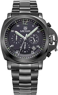 Megir Watch for Men, Stainless Steel Band, Chronograph, M-3006