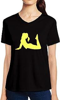 Pooplu Womens Yoga Girl Cotton Printed V Neck Half Sleeves Multicolour t-Shirt. Exercise & Gym t Shirt