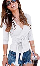 Famulily Womens Deep V Neck Long Sleeve Slim Fit Casual Self-Tie Front Cross Wrap Tops Shirt