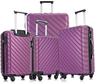 Fridtrip Carry On Luggage with Spinner Wheels Luggage Sets Travel Suitcase Hardshell Lightweight (Purple, 4 PCS)