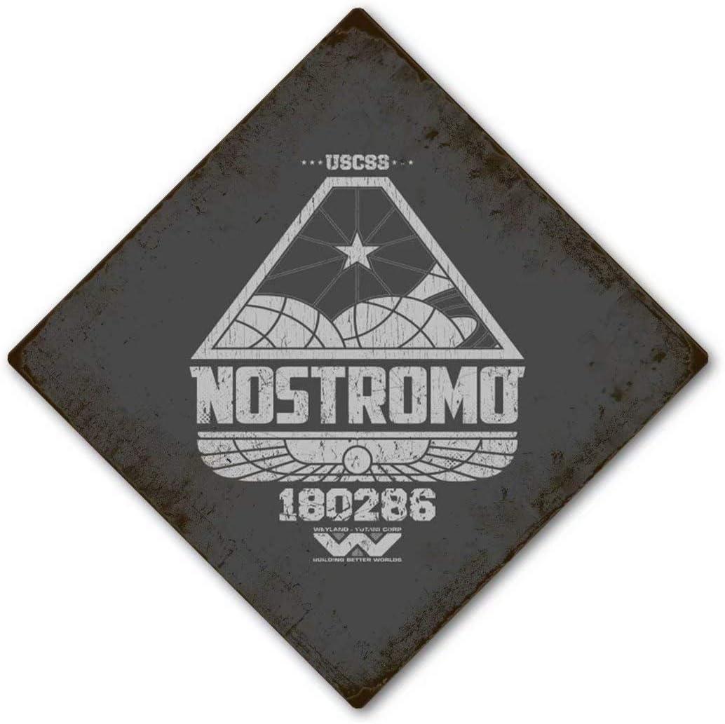 Weyland Yutani Metal Sign- Nostromo180286 -Vintage Alien Sci Fi Xenomorph Poster, Office Bar Restaurant Hotel Coffe Garage Wall Decor Plaque 8X8 Inch