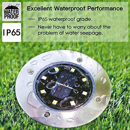 Solar Ground Lights - 8 Led Solar Garden Lights Outdoor Waterproof Sidewalk Disk Lights Solar Powered Landscape Lighting for Lawn Patio Pathway Yard Deck Walkway Flood Lights (12 Packs Warm White)