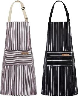 پیش بند آشپزخانه NLUS 2 بسته ، پیش بند آشپز قابل تنظیم با دو جیب زنانه (راه راه مشکی / قهوه ای)