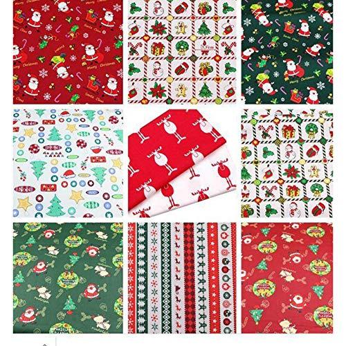 LICHENGTAI 10 Stücke Weihnachten Muster Baumwollstoff, Meterware Stoffe zum Nähen Stoffreste Stoffpaket, Baumwolle Patchwork für DIY Fertigkeit Baumwolltuch zum Nähen Patchwork, 25 x 25 cm