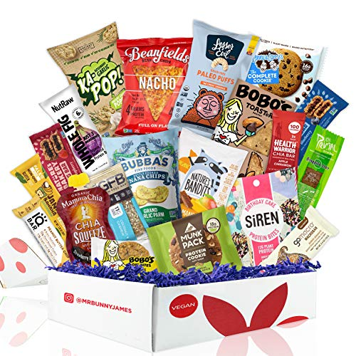 Healthy Vegan Snacks Care Package: Mix of Vegan Cookies, Protein Bars, Chips, Vegan Jerky, Fruit & Nut Snacks, Great Vegan Christmas Gift Basket Alternative